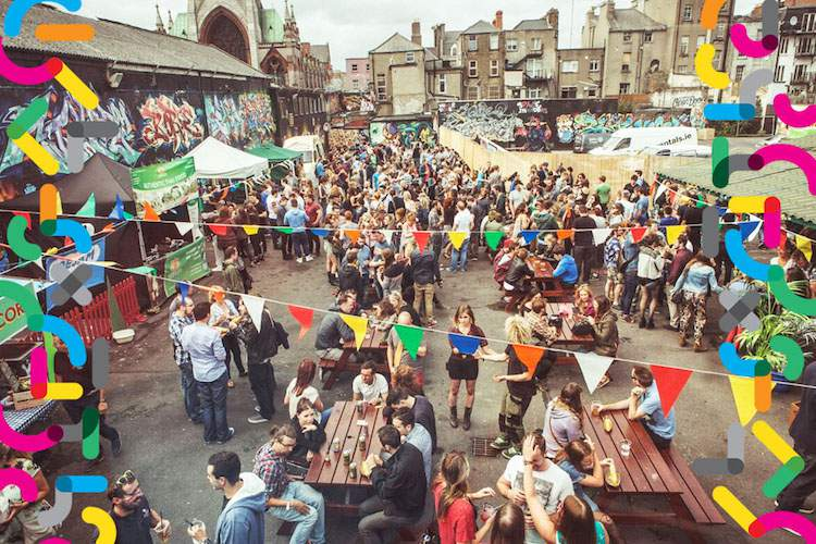Aerial view of Dublin City Block Party